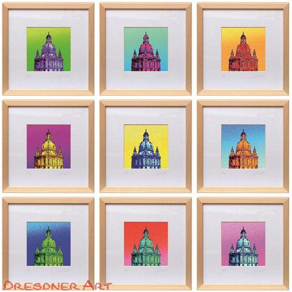 Grafik Pop-Art Frauenkirche Dresden hellblau-orange 25x25 ...